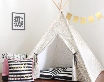 Kids Play Tent Teepee, Sparkle Gold Metallic Fabric, Two Sizes,  Can Include Window, Play Tepee, Kids Tent, Childrens Teepee, Tee Pee