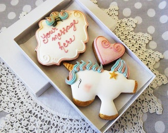 Personalised Unicorn Cookie Gift Box -  BFF gift - Birthday Gift - Kawaii Gift - Gift for her