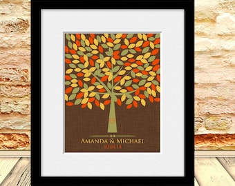 Fall Wedding Tree Guestbook, Autumn Guestbook Alternative, Wedding Guest Signature Tree, Unique Wedding Guestbook, 175 Leaf Guestbook