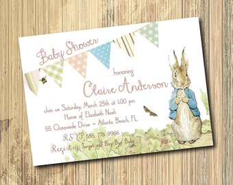 Peter Rabbit Baby Shower Invitation printable/Digital File/Beatrix Potter, girl baby shower, bunny shower, vintage/Wording can be changed