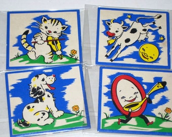 4 Vintage (1950s) See-Quees  by Judy Puzzle Pieces - Hey Diddle Diddle