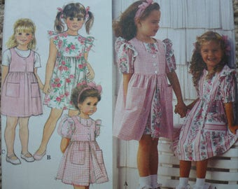 Vintage Simplicity Pattern 8889 Child's Dress and Pinafore or Jumper Size A 5-6-6x