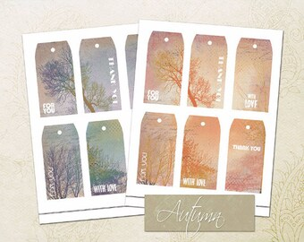 Autumn Gift Tags-Printable Fall Tags-Season Gift Tags-Printable Thank you Tags-Love Tags-Favor Tags-Vintage Gift Tags-Thanksgiving Tags