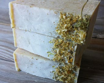 Chamomile Honey Oat Soap | Handcrafted All Natural Cold Process | Chamomile Soap | Honey Soap | Oatmeal Soap | Herbal Soap | Unscented Soap