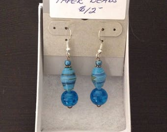 Blue Marbled Paper Bead Earrings