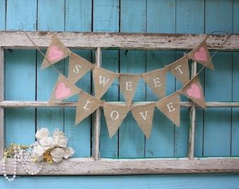 SWEET LOVE mini garland,cake topper,shabby cottage