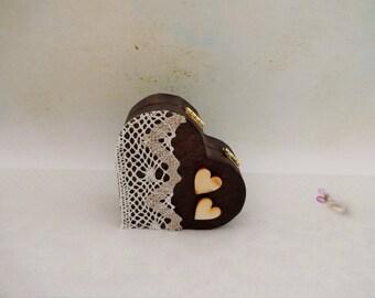 Wedding Heart Ring Holder, Outdoor Wedding Ring Box, Heart Ring Box, Ring Bearer Box, Rustic Ring Box, Pillow Alternative, Wood Ring Box
