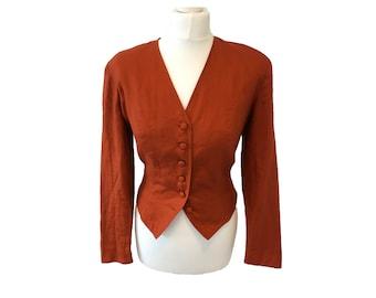 Vintage Retro 80's 1980s Orange Rust Linen Shoulder Pads Monsoon Blazer Jacket