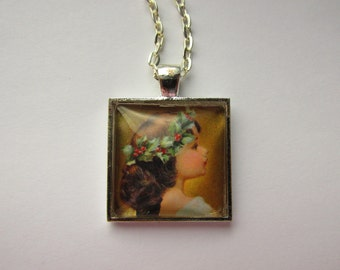 Square Glass Dome Pendant with Vintage Angel Graphic,Stylish Chain, Stylized Art, Vintage Angel, Christmas Gift, Winter Jewelry