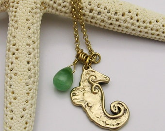 Bronze Seahorse Necklace with Seafoam Green Glass Teardrop Bead, Gold Seahorse, Seahorse Jewelry, Seahorse Necklace, Sea Horse Lover
