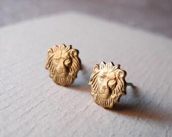 Leo Star Sign Earrings, Zodiac Jewelry, Leo Stud Earrings, Animal Jewelry, August Zodiac Sign, Horoscope, Sterling Silver Hypoallergenic