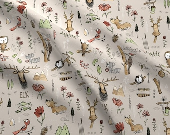 Moose Bear Elk Fabric by the Yard Childrens Fabric Cotton Minky Jersey Knit Nursery Fabric Woodland Fabric by the Yard Quilting 5529184