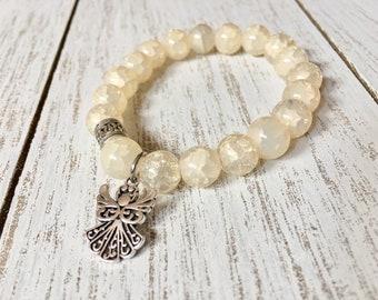 Cream Cracked Agate Beaded Bracelet