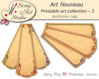 Apothecary tags in art nouveau decor. Vintage labels, printable blank tags, large, small labels. Free printable sheet. Png, Jpeg, pdf files.