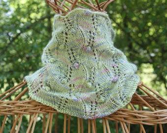 cowls, green cowls, knit cowls, hand knits, scarves, knit scarves, wrapped cowls, knits, cashmere cowls, silk cowls