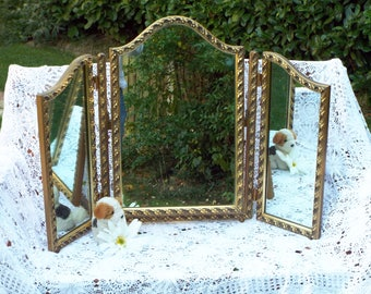 Antique Dressing Table Mirror Vintage Triple Section Dresser Mirror Gold Frame Triptych Mirrors Framed Trifold mirrors M353