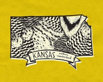 Kansas State Bird Print- Western Meadowlark, 8x10 inches.