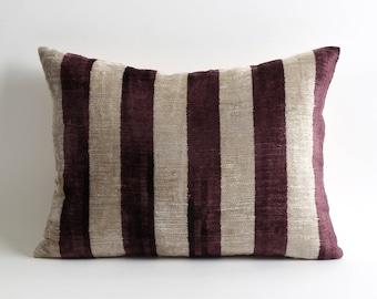 ikat pillow, velvet pillow, velvet pillow cover, pillow, ikat pillows, ikat velvet pillow, purple velvet pillow, purple ikat pillow, ikat
