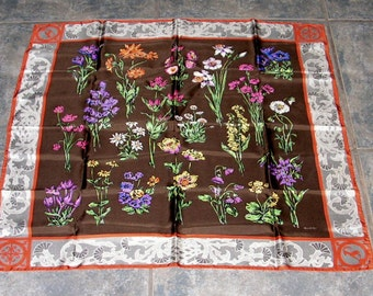 Vintage Gucci Silk Scarf  - Flowers Thistle Border Antelope - Neckscarf - Shawl - 31 inches