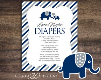 Instant Download Navy Elephant Late Night Diapers, 8x10 Blue Grey Diaper Thoughts, Boy Elephant Baby Shower Decorate Diaper Activity 22G