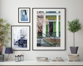 New Orleans Architecture Street Photography, Large Format Photo Prints, Matted Photo Set of 3, City Photo Set New Orleans Vintage Wall Art