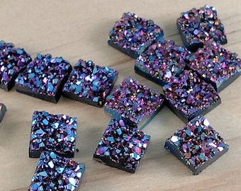 Magenta Purple Blue 10x10mm Chunky Faux Druzy Square Cabochons 10 pcs - D11:13