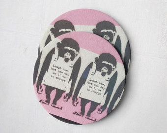 Banksy Drink Coasters – Absorbent Coaster Set of 10 – Coasters for Women & Men – Heavyweight Reusable Thick Pulpboard - Monkey with Sign