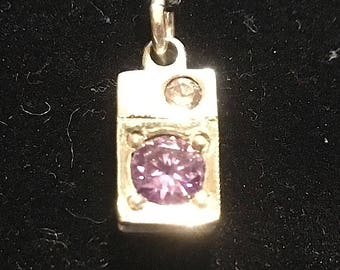 Silver Pendant - Metal Clay With Cubic Zirconia