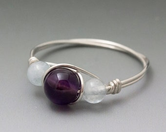 Amethyst & Aquamarine Sterling Silver Wire Wrapped Beaded Ring - Made to Order, Ships Fast!