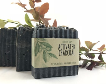 ACTIVATED CHARCOAL olive oil soap, natural soap, handmade soap,  detox soap, acne soap, oily skin soap, organic skin care, tea tree soap
