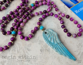 Archangel Michael Mala Beads | Sugilite Angel Necklace | Angel Wing Prayer Beads | Guardian Angel Necklace