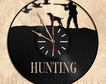 Hunting Wall Clock Vinyl Record Clock Handmade