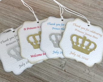 Princess baby shower favor tags, Little Prince baby shower favor tag, Princess Party favor tag, Sweet 16 favor tag, Quinceanera favors