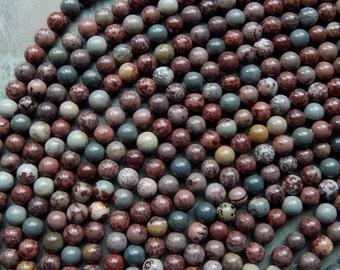 8mm Artistic Jasper Beads - 8mm A Grade  Coffee Bean Jasper - Chohua Jasper -  Round Polished Gemstone Beads, Half Strand (IND1C05)