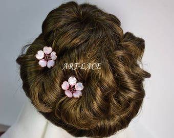 Sakura hair pin Rose gold hair accessories for women Cherry Blossom clip Japanese Chinese Bridal Hair flowers Decorative Hair pins Art deco