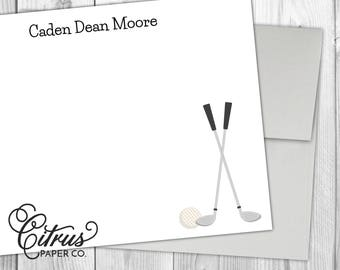 Golf Boys Note Cards - Stationery Stationary Sports Flat Note Cards Personalized Athletic Baby Thank You Birthday Gift Idea Girls