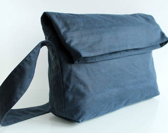 Waxed canvas handbag, waxed canvas purse, waxed canvas shoulder bag, blue messenger bag, unisex bag, mens waxed bag - The Navy Fold Top