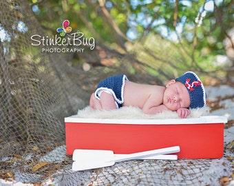 Sailor Set - Crochet Sailor Set - Baby Sailor outfit - Nautical Diaper Set - Navy Baby Hat - Sailor Photo Props - Nautical Baby Photo Props