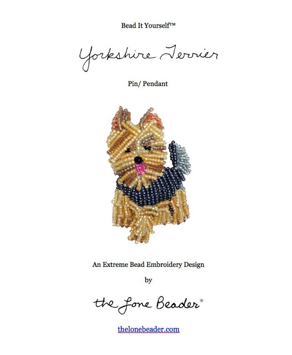 Pdf File Yorkie Yorkshire Terrier Dog Pin Bead Embroidery