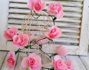 Wedding garland, Paper flowers garland, Pink roses garland, Wedding decoration, Party Decoration, Baby shower,Paper flowers, Arch decoration