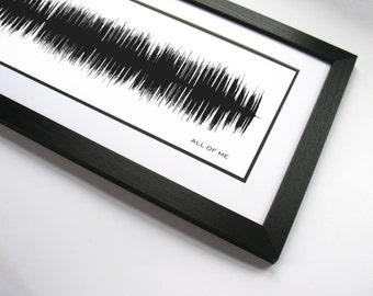 """Sound Wave Song - """"All of Me"""" - Romantic Song, R&B Music Wall Art, Song Art Print"""