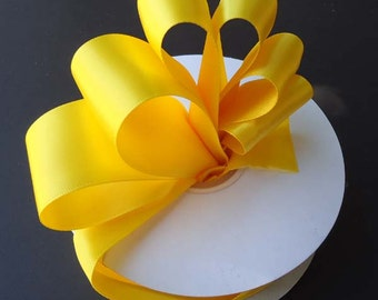 Double Face Satin Ribbon- Yellow - 5 Yards