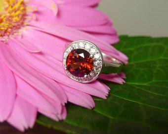 Garnet Ring, Garnet Halo Ring, Garnet Silver Ring, Garnet Sterling Ring, January Birthstone Ring, January Birthstone, Natural Garnet Ring