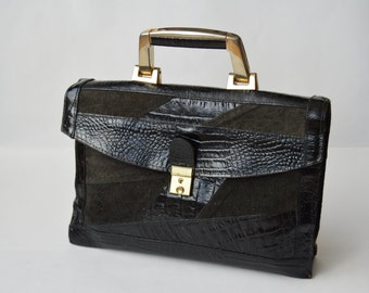 Vintage Black Leather briefcase messenger bag Bag Black Leather Messenger Bag  Briefcase