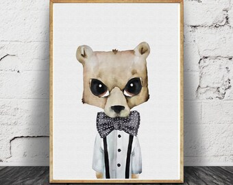 bear print, watercolour illustration, children illustration, nursery artwork