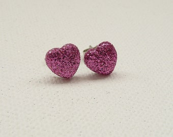 ns-CLEARANCE - Mini Sparkly Pink Heart Stud Earrings