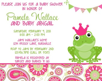 Frog Pink & Green Paisley Baby Shower Invitation - Girl PRINTABLE