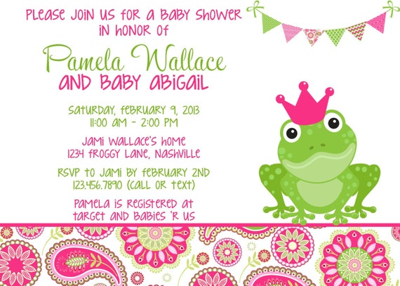 Frog Wedding Invitations: Frog Pink & Green Paisley Baby Shower Invitation Girl