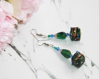 Earrings dangle swarovski crystal and glass bead green and blue earring