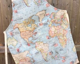Handmade Cotton Apron, World Map Fabric